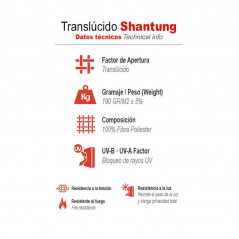Información técnica estores traslúcidos Shantung | Anacor