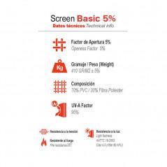 Información técnica estores enrollables Screen Basic 5%   Anacor