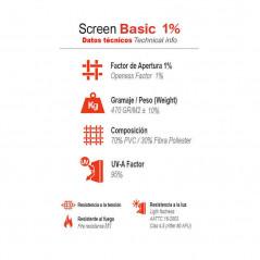 Datos técnicos estores enrollables Screen Basic 5% | Anacor