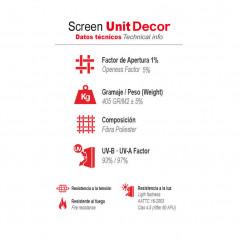 Datos técnicos tejido screen al 5% Unit Decor | Anacor