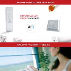 Estor mororizado gama Premium con pulsador pared o mando, vía radio y bateria | Anacor